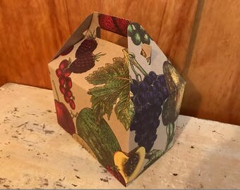 Set of 10 Gable Boxes .  Decorative Boxes . Goody Boxes . Event Lunches . Fruit on Striped Kraft Background . Tote Boxes . Wedding Boxes