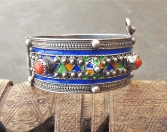 old kabyle bracelet from bni yenni.highsilver,enamel and mediteranean corals