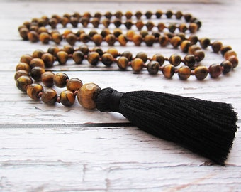 Tiger eye necklace Tiger Eye Mala Beads Malas necklaces Long necklaces Beaded men necklaces Bead necklace Tassel Jewellery Knotted necklace