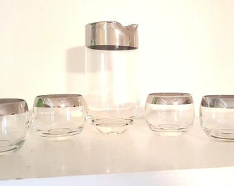 Mid Century Martini Set Silver Rim Pitcher with 4 Roly Poly Glasses