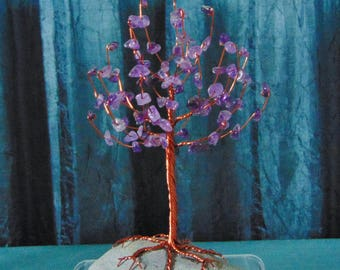 Amethyst Crystal Gem Tree Copper Sculpture (small)