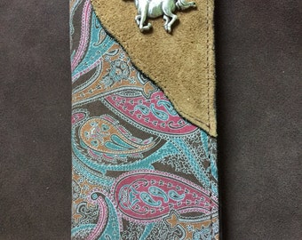 Handmade / Leather Paisley Print Wallet