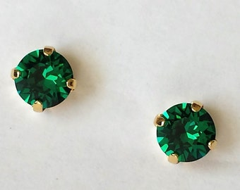Emerald Crystal Stud Earrings Swarovski Rhinestone Post Earrings Wedding Jewelry Bridesmaids Earring Gifts Emerald Crystal Earrings