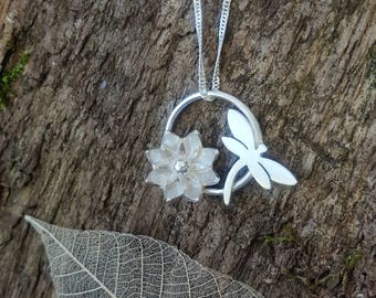 Sterling silver Dragonfly and flower pendant