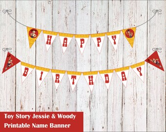 Birthday Party Toy Story Jessie Banner PDF file DIY Flag Garland