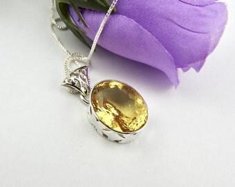 Citrine pendant. Citrine necklace. Sterling silver. Citrine. Gemstone. Fine Jewelry. Citrine jewellery. Citrine Jewelry. Handmade. Silver
