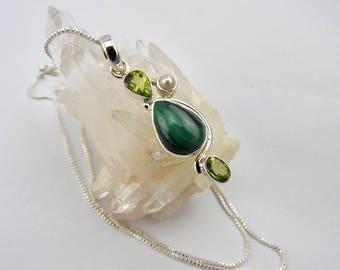 Malachite pendant. Peridot. Pearl. Malachite necklace. Malachite. Sterling silver. Jewelry. Jewellery. Designe. Gemstone. Necklace. Pendant.