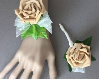 Matching Wrist Corsage and Buttonhole, Prom Corsage and matching Buttonhole, Matching Wrist Corsage and Buttonhole, Coffee Wrist Corsage,