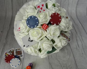 Ivory Casino Wedding Bouquet, Las Vegas wedding theme, Playing Cards bouquet, Dice bouquet, Casino chips bouquet, Poker wedding, Roulette