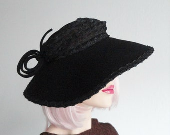 Unique Black 30s Wool Hat With Quirky Ornaments