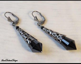 GOTHIC Earrings gunmetal black Filigree BLaCK Crystal Dangle leverback Gothic Earrings by SweetDarknessDesigns