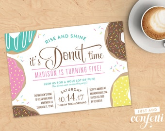 Donut Printable Invitation and Matching Backer - Personalized, Digital File, Birthday Brunch Invitation, Birthday Invitation, Kids Birthday