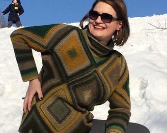 Women's Merino Sweater. Hand Knitted. Patchwork. Lana Grossa Yarn.