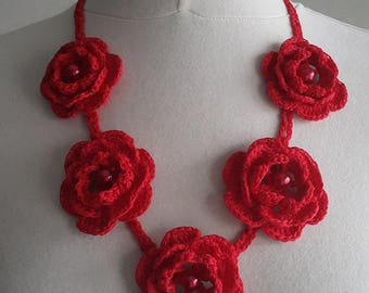 Crochet Necklace,Crochet Neck Accessory, Red, 100% Cotton.