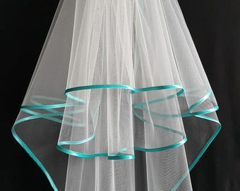 Ivory Wedding Veil, Three Layers, Aquamarine Satin Edging.