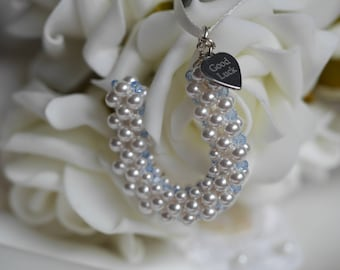 Something Blue Wedding Charm Hand made Swarovski  pearl HORSESHOE/ bouquet charm / gift with optional personalised charm.