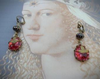 Delicate Renaissance earrings, vintage pink glass jewels w leaf details, antique brass, Czech glass beads, leverback fastening, vintage look