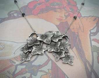 Ivy leaf necklace etsy ivy leaf necklace arrangement of leaves antique silver ox silver plated art mozeypictures Image collections