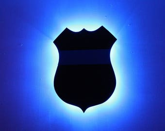 Policeman's Badge w/ Blue Stripe