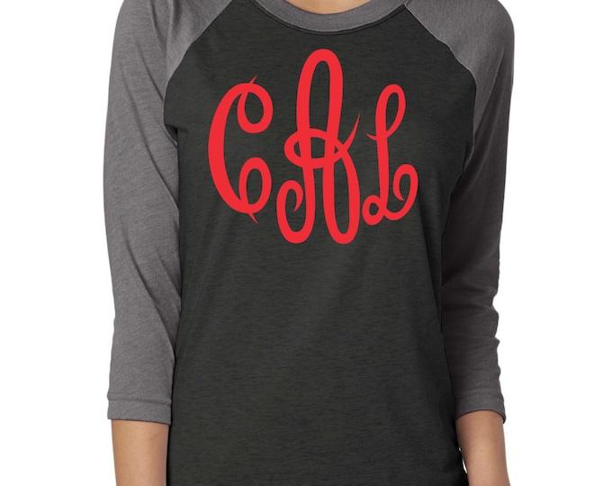 monogram raglan tee . Monogram baseball shirt . Monogram glitter shirt . unisex Monogram Raglan  red black and grey big  monogram shirts -