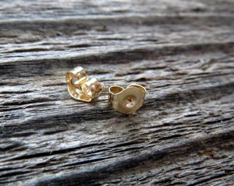 14k Solid Gold Earring Backs for Standard Post Stud Earrings, Lightweight  Yellow Gold Friction Ear Nuts, Made in the USA, Sold Individually