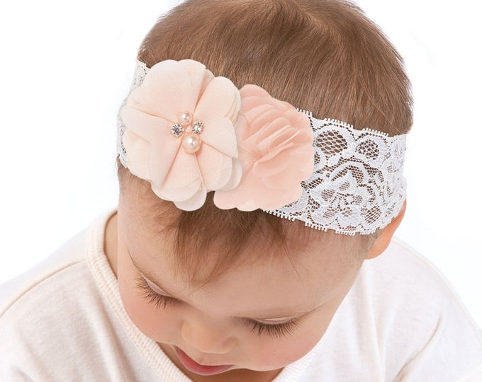 Baby Girl Headband, Newborn Girl Headband, Newborn Girl Outfit, Flower Headband, Power Pink, Lace Headband, Baby Girl Accessories