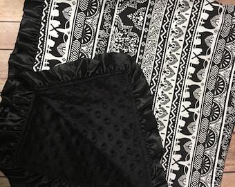 Indi - elephants / Minky Blanket /Black on black and whitesatin trim