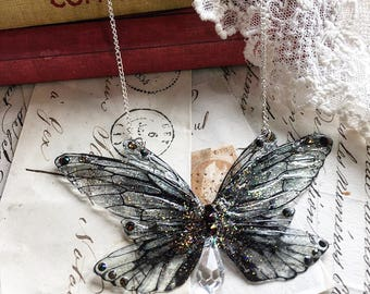 NEW black Faerie wings Necklace