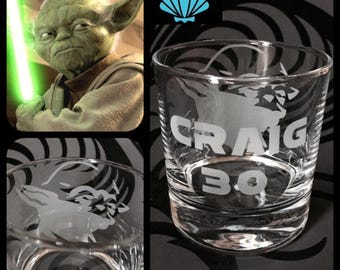Personalised Yoda Glass With Free Name Engraved. Totally Unique Gift For Any Star Wars Fan!