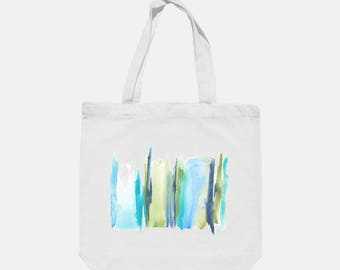 Original Abstract Watercolor Art Print On White Canvas Tote Bag - Stripe 4