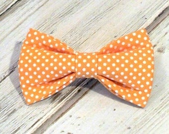 Orange Dots Dog bow, Cat bow tie, pet bow tie, collar bow tie, wedding bow tie