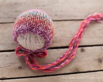 Rainbow Newborn Bonnet, Newborn Knit Hat, Wool Hat, Photo Prop, Newborn Hat, Newborn, Knit Hat, Rainbow Bonnet, Pink Newborn Hat