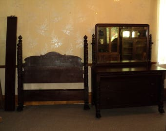 Antique Empire Poster Mahogany Bed and Dresser by Berkey & Gay