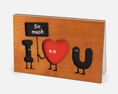 Funny Love Card, cute Wood Gift for Wedding Anniversary, Valentine's Day, Happy Birthday. Present Him Boyfriend, Her Girlfriend. Cards Gifts