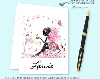 Free Ship!  Set of 12 Personalized / Custom Notecards, Boxed, Blank Inside, Woman, Silhouette, Female, Fairy, Monogram, Name, Initials