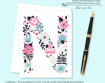 Free Ship!  Set of 12 Personalized / Custom Notecards, Boxed, Blank Inside, Floral, Flower, Blue, Pink, Monogram, Name, Initials