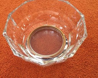 Vintage Glass and Silver Salad Bowl