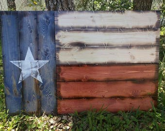 "21""x32"" Handmade Wooden Rustic-style Texas Flag"