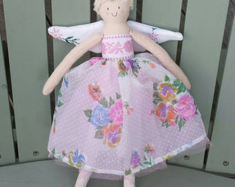 Handmade spring fairy with vintage flocked skirt & embroidered  wings