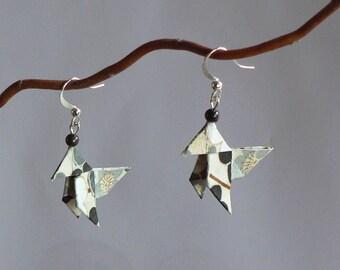 Boucles d'oreilles Origami Cocottes Papier Japonais Gris.