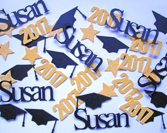 Graduation Confetti, Graduation Decorations, Graduation Party Decorations, Photo Prop, Class of 2017 Confetti, Name Confetti, Table Decor