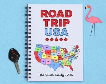 "Personalized, Road Trip USA, travel journal, travel diary, 5"" x 7"" journal, notebook, scrapbook, memory book, diary, photo book, adventure"