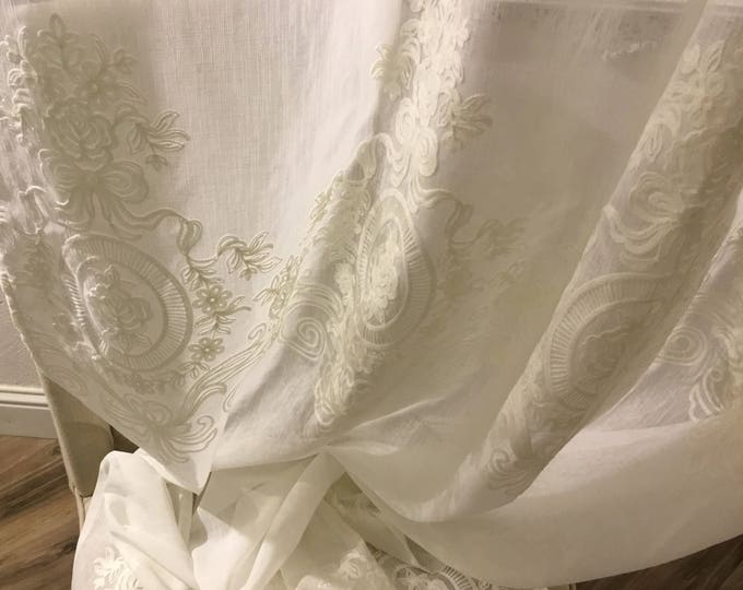 Embroidered linen curtain