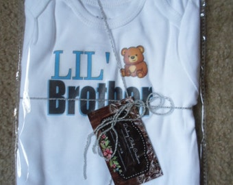 Ready to Ship Very Soft Lil' Brother Bodysuit, Baby Boy Clothes, Shower gift, Short or Long Sleeve available, Sizes Preemie-18 Months