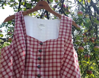 Vintage Dirndl Dress Red Checkered No. 42