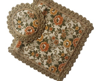 Vintage floral tapestry doilies set of two