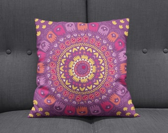 Boho Chic Hippie  Mandala Throw Pillows , Square , Rectangle , Many sizes  Bold Pink