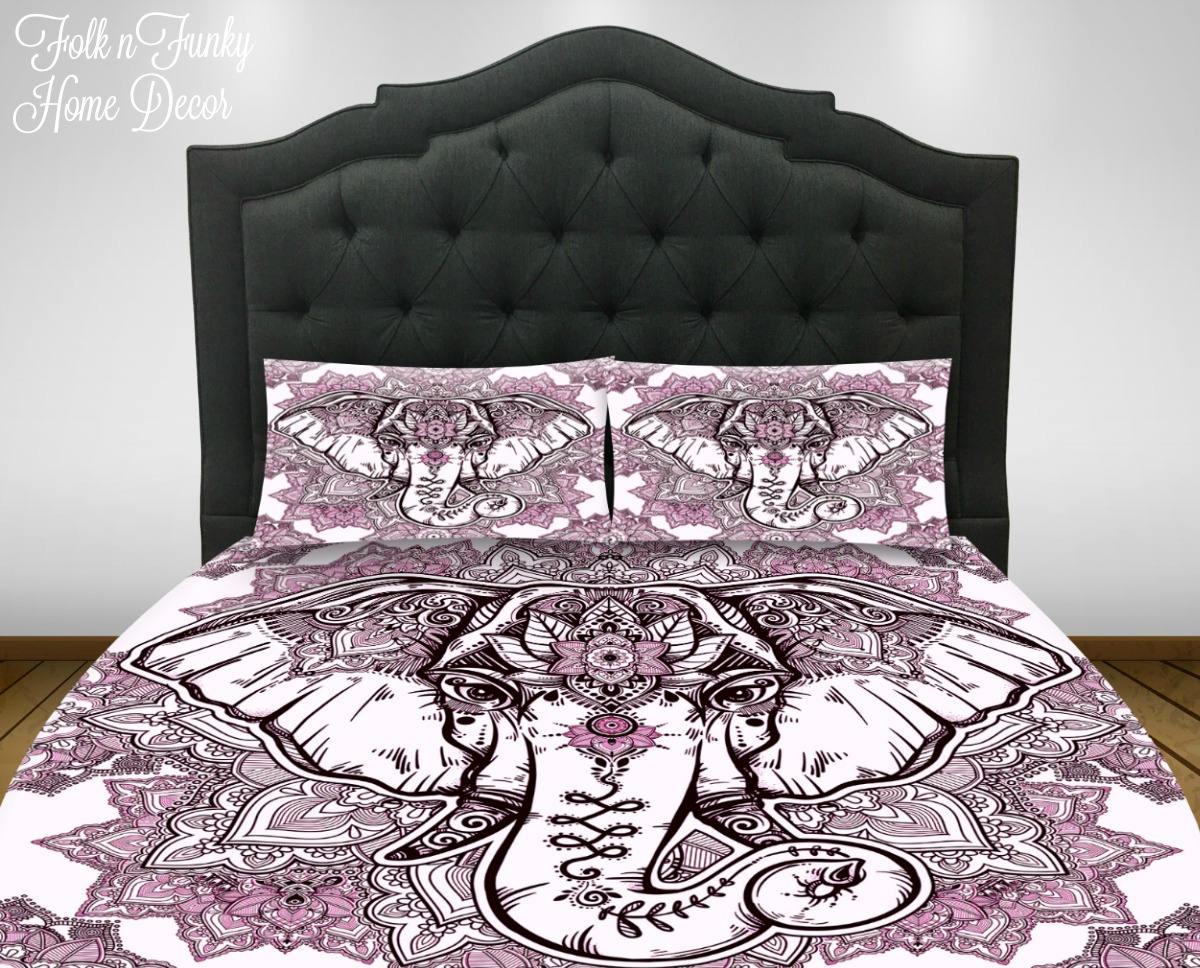 Boho Elephant Bedding, Duvet Cover Or Comforter Set, Twin