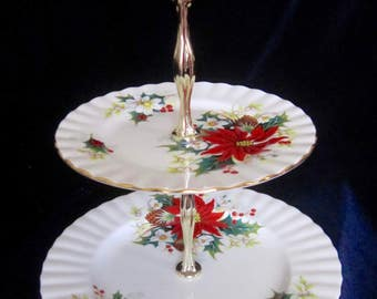 Royal Albert Pointsettia Two Tier Bone China Tidbit Tray - England