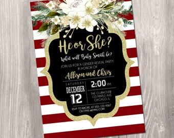 christmas gender reveal invitation, holiday baby reveal invite, he or she, winter gender reveal gold glitter digital printable digital